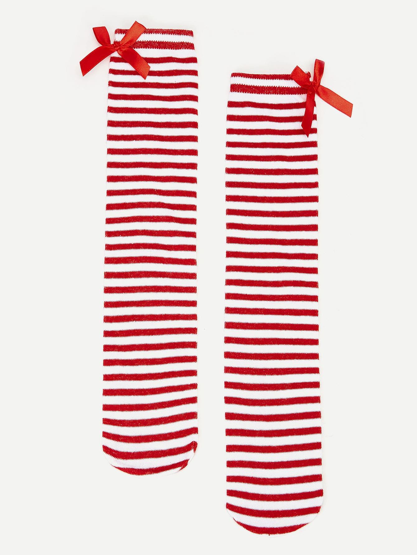 Купить Девочки милые полосатые носки средней длины, null, SheIn