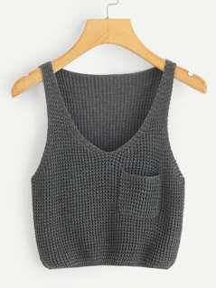Pocket Patch V-neck Tank Top