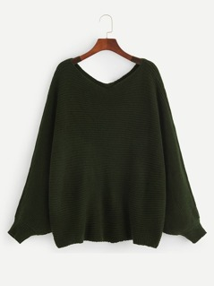 Double V-neckline Dolman Sleeve Sweater
