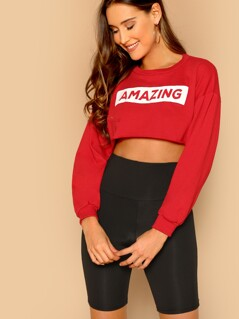 Amazing Print Raw Hem Pullover Crop Sweatshirt