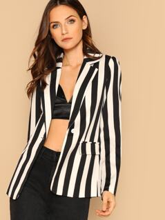 Stripe Single Button Notch Collar Casual Blazer