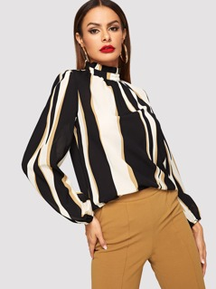 Frilled Neck Striped Blouse