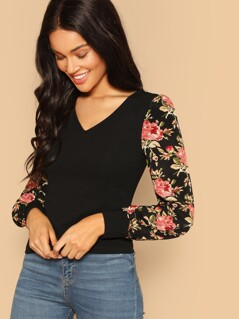 Floral Sleeve Fitted Top
