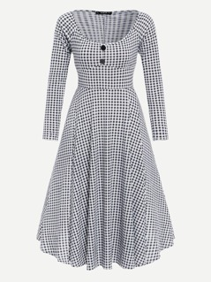 70s Button Front Gingham Fit & Flare Dress