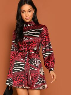 Animal Scarf Print Self Belted Satin Dress