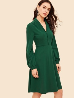 60s Button Front V Neck Fit & Flare Dress