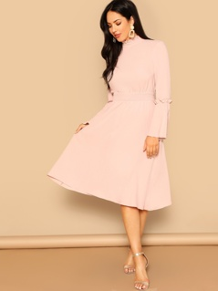 Split Back Bell Sleeve Shirred Waist Dress