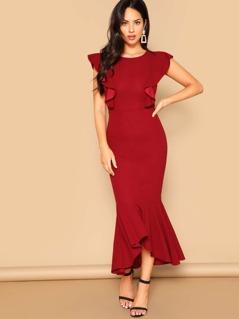 Ruffle Trim Fishtail Hem Dress