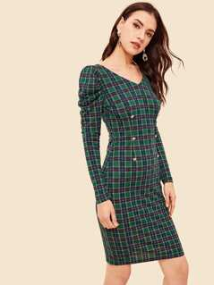 Double Breasted Gigot Sleeve Plaid Pencil Dress