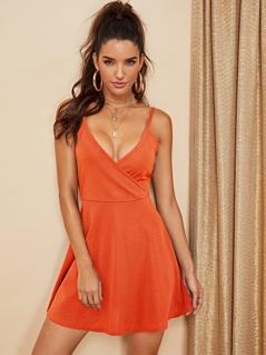 Double V Neck Surplice Cami Dress