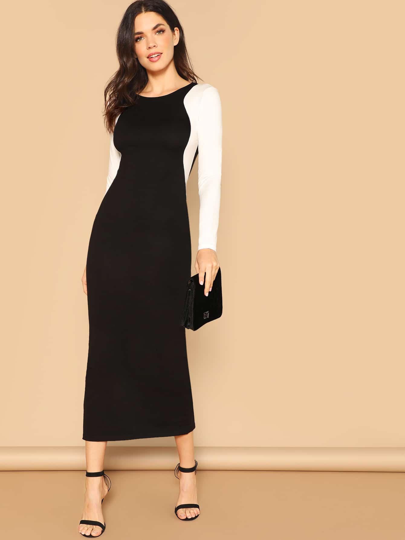 Купить Чёрнобелые Контрастный цвет Одноцветный Элегантный стиль Платья, Aarika Wolf, SheIn
