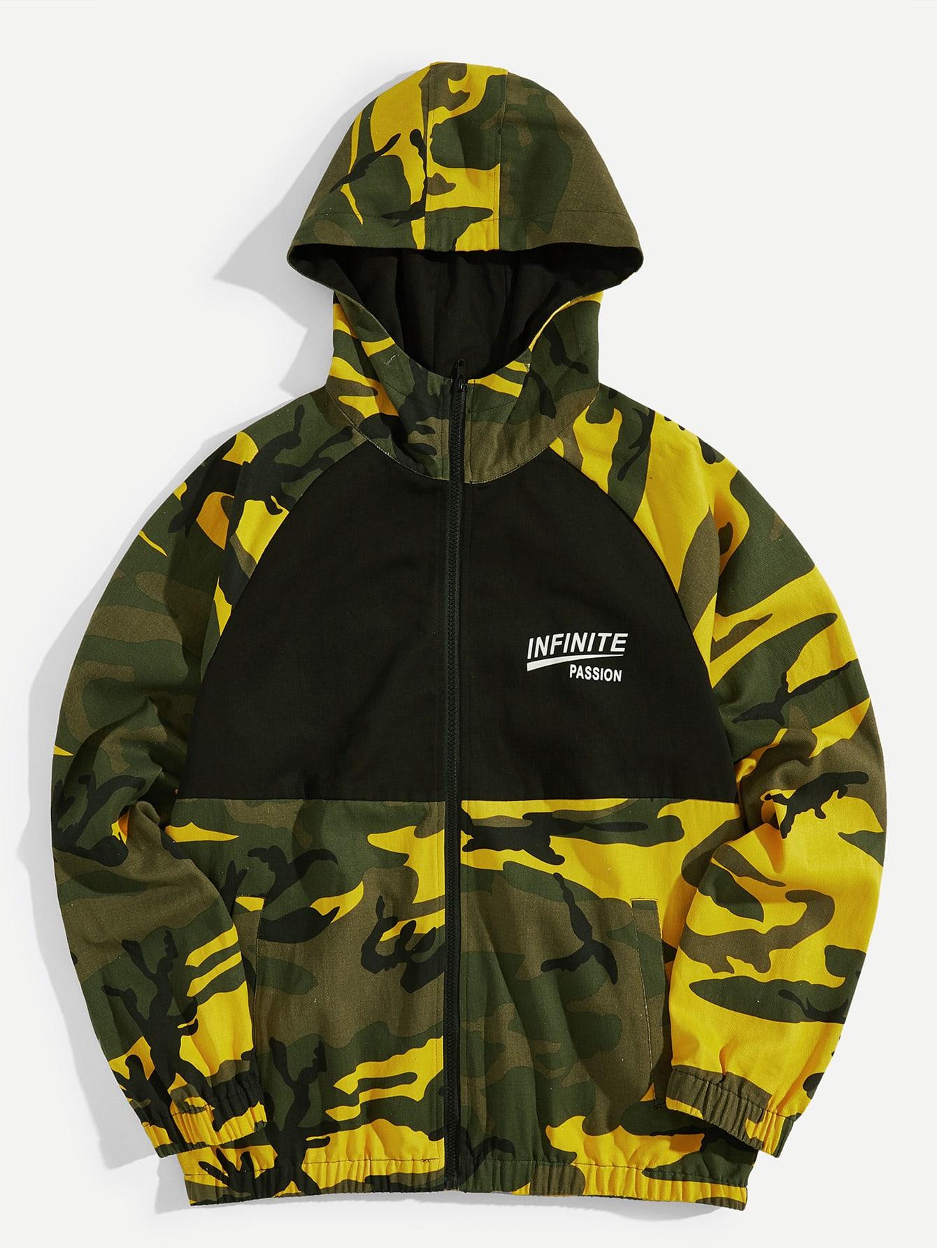 Купить Мужская камуфляжная куртка на молнии с капюшоном, null, SheIn