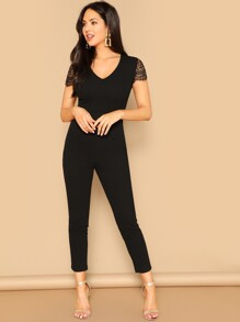 V Neck Lace Sleeve Jumpsuit