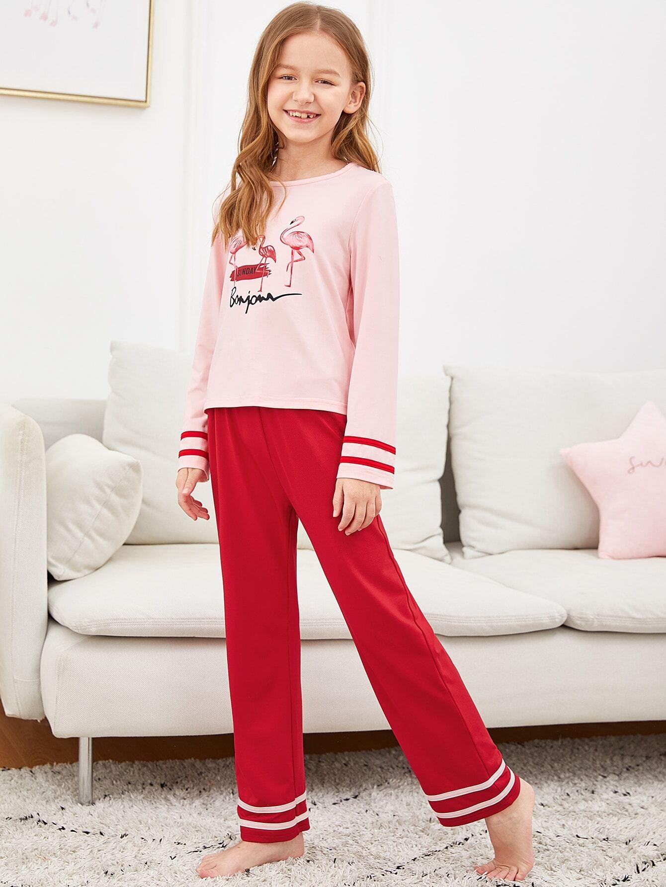 Женская футболка с графическим принтом и полосатые брюки пижама комплект от SheIn
