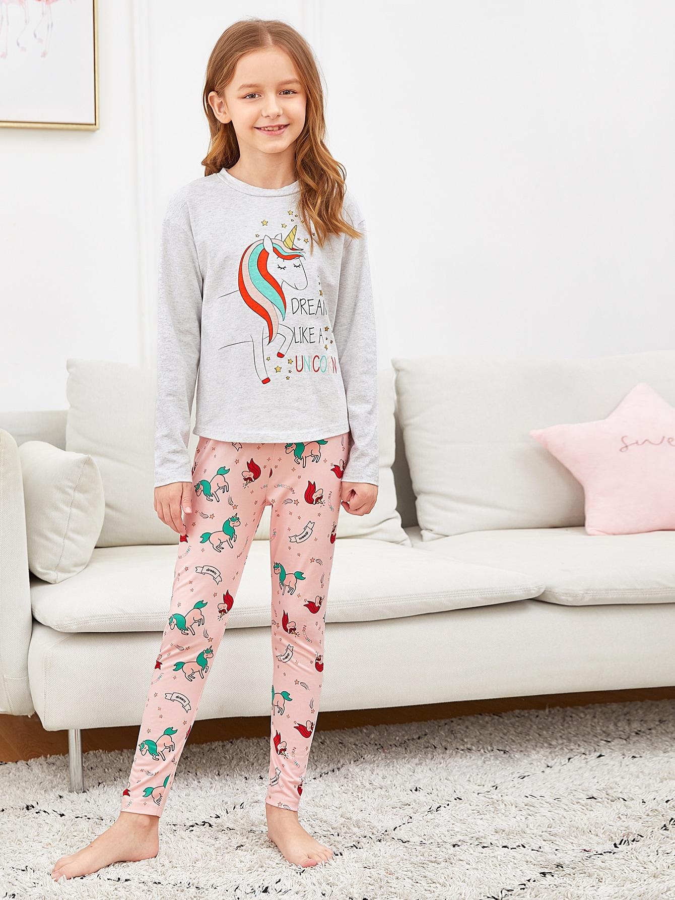 Женский топ с графическим принтом и брюки пижама комплект от SheIn