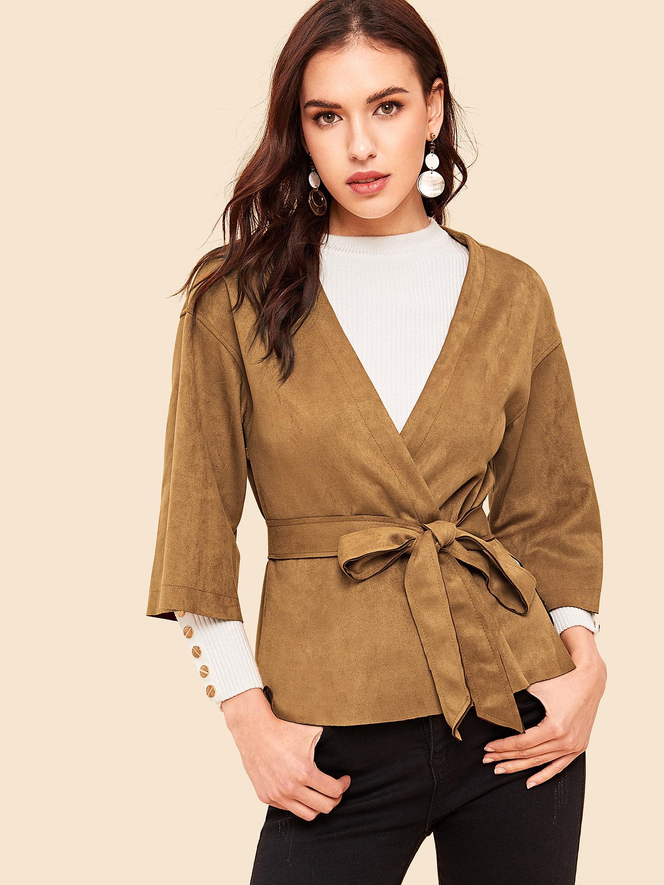 Купить Замшевое пальто с поясом и разрезом и оригинальным рукавом, Lryna, SheIn