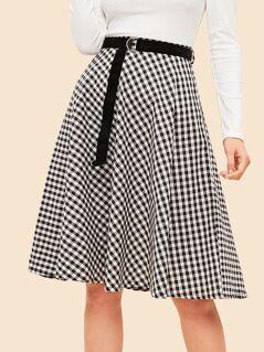 40s Gingham Midi Skirt With D-ring Belt