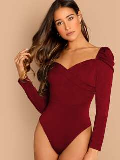 Leg-of-mutton Sleeve Sweetheart Neck Bodysuit