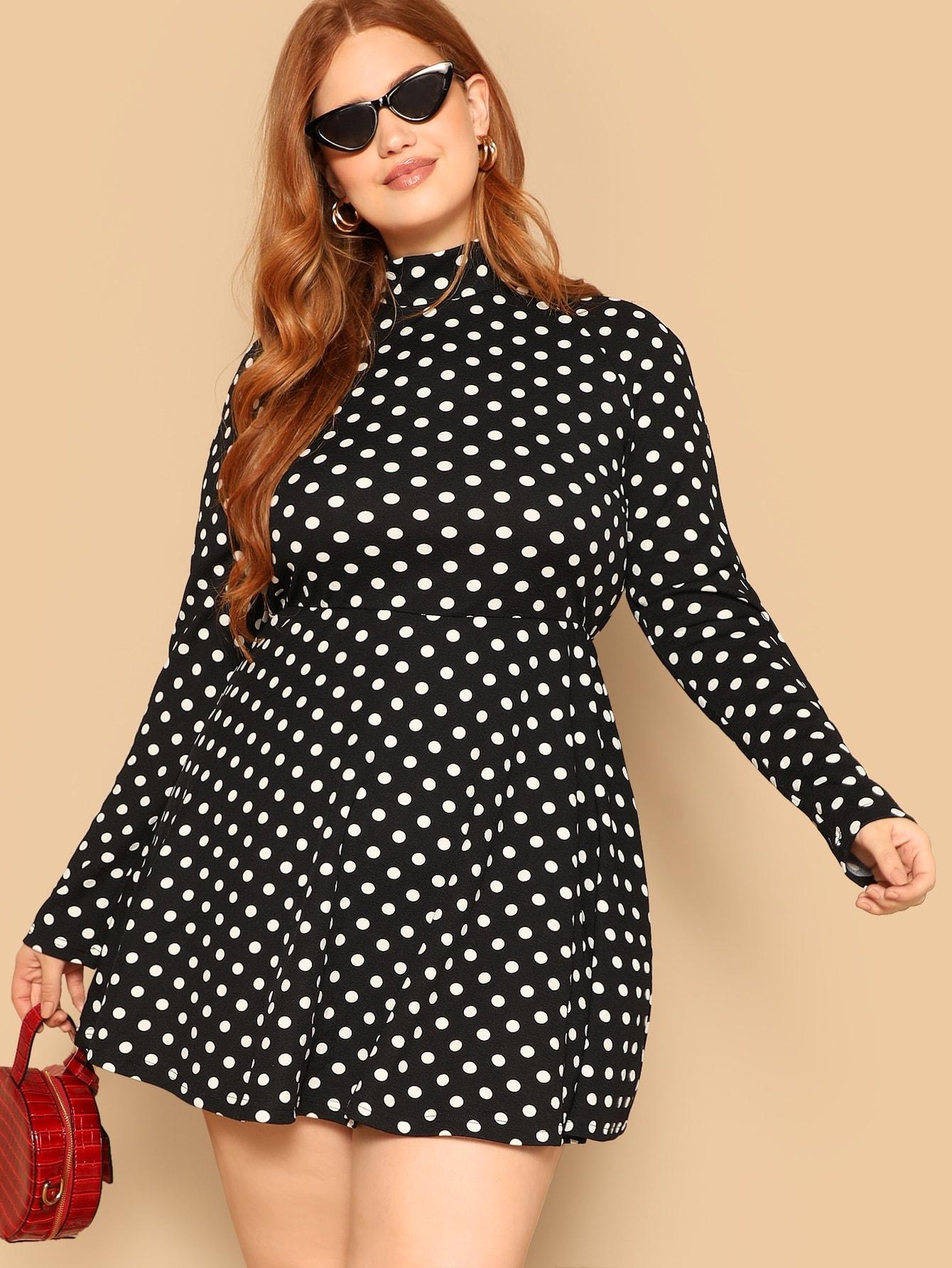 Купить Расклешенное платье в горошек с вырезом под горло размера плюс, Bree Kish, SheIn