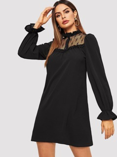 Frill Trim Buttoned Lace Neck Tunic Dress