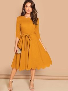 Scallop Edge Fit & Flare Belted Dress