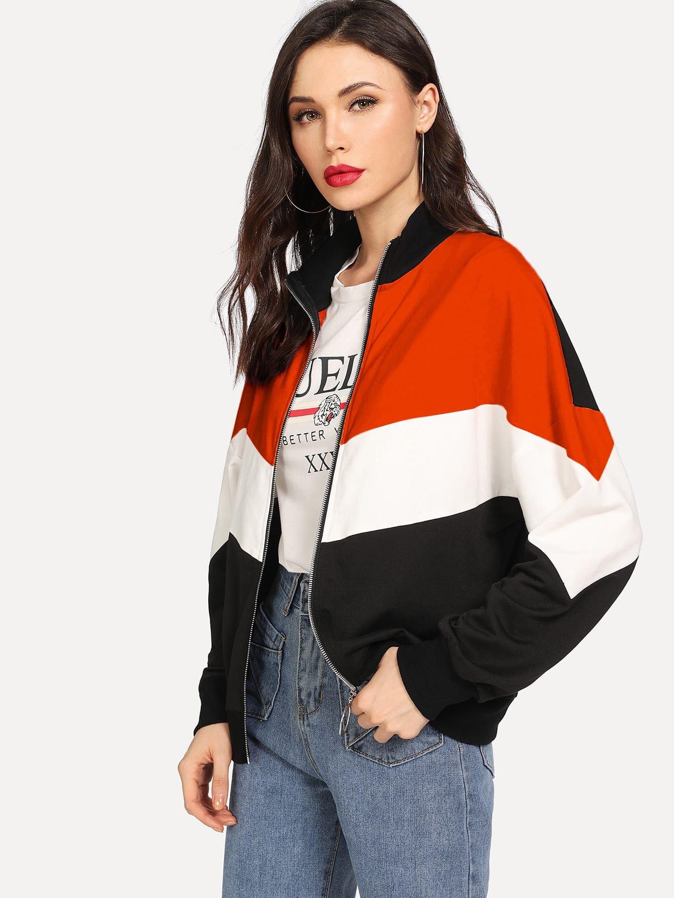 Купить Контрастная куртка на молнии с заниженной линией плеч, Karinab, SheIn
