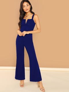 Thick Strap V-notch Front Flared Jumpsuit