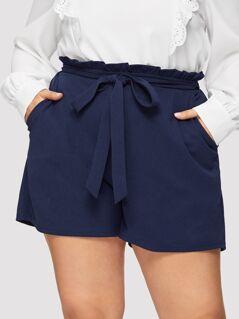 Plus Paperbag Waist Slant Pocket Shorts
