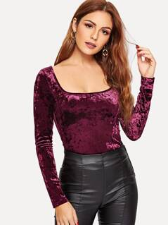 Square Neck Form Fitted Velvet Top