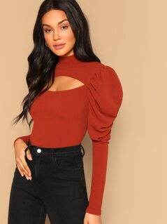 Mock-neck Cut-out Front Gigot Sleeve Top