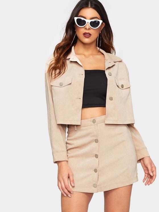 a950b2c9d3a3 Crop Corduroy Utility Jacket & Button Up Skirt Co-Ord | MakeMeChic.COM