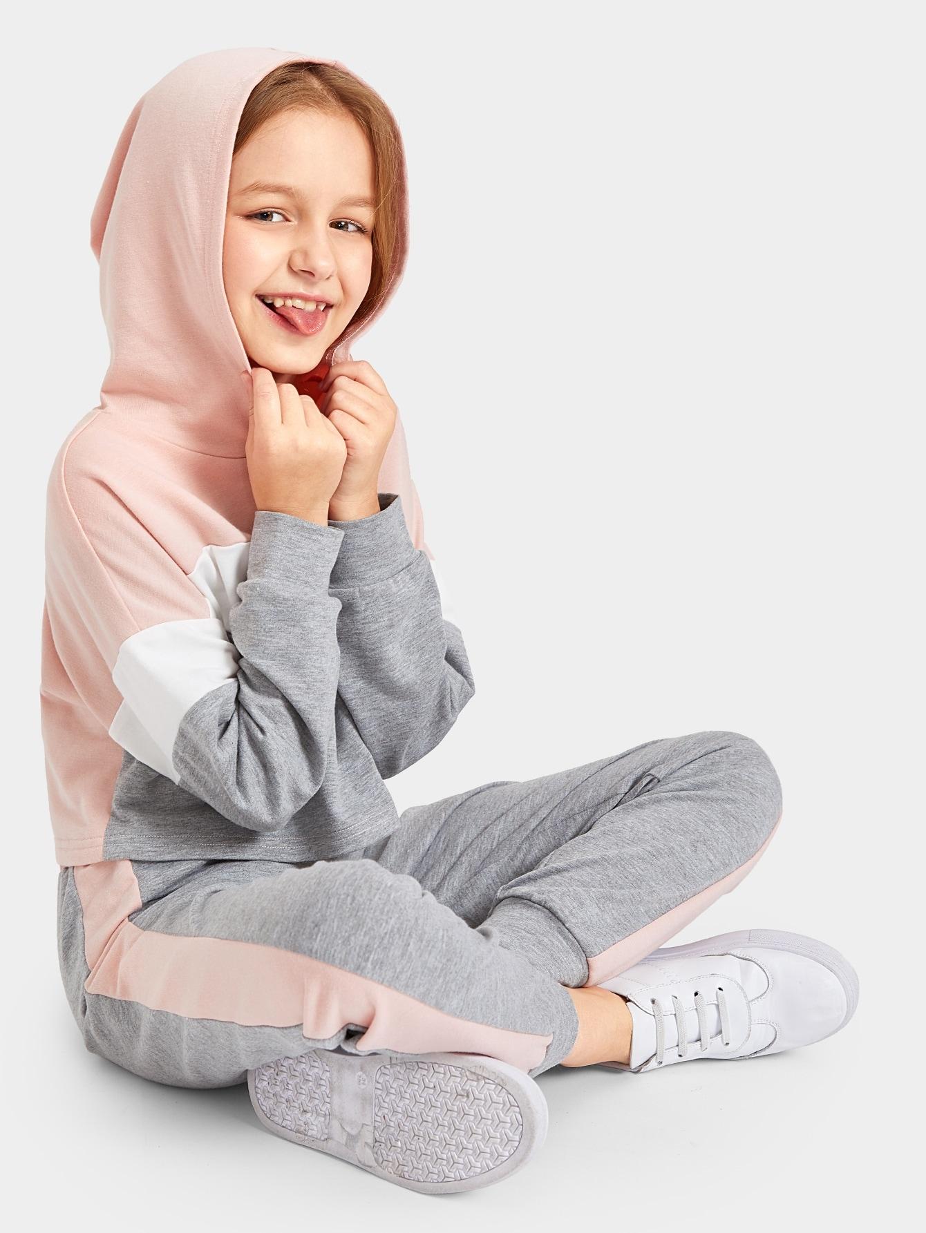 Купить Контрастная толстовка с заниженной линией плеч и брюки комплект для девочек, Sashab, SheIn