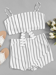 Knot Back Crop Cami Top and Wrap Shorts Set