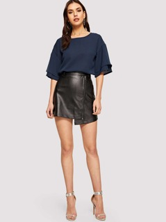 Layered Sleeve Solid Top