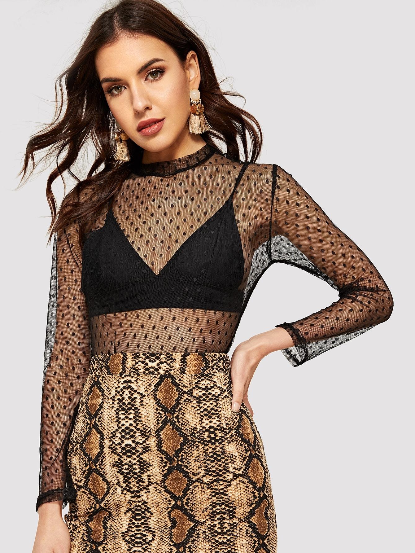 Купить Черный Чистый Одноцветный сексуальная блуза Блузы+рубашки, Lryna, SheIn