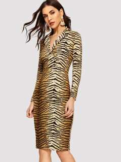 Notch Neck Animal Print Dress