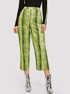 Snakeskin Print Scallop Trim Pants