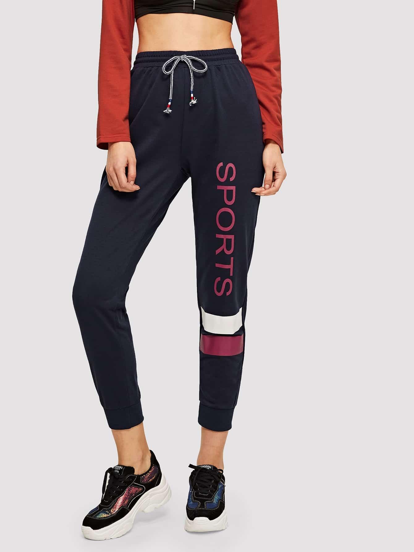 Купить Спортивные брюки с текстовым принтом, Lryna, SheIn