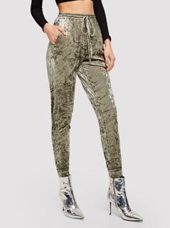 Elastic Waist Crushed Velvet Pants
