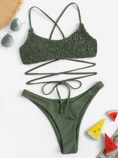 Crisscross Shirred Top With Cheeky Bikini Set