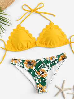 Scallop Trim Halter Top With Plants Print Bikini Set