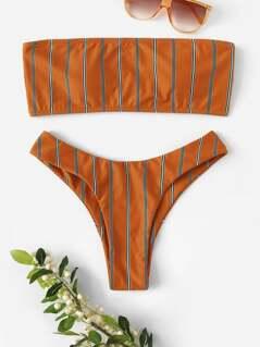 Striped Bandeau Top With Cheeky Bikini Set