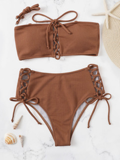 Lace Up Removable Strap Bandeau Bikini Set