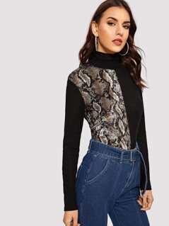 Cut-and-sew Snakeskin Mock-neck Tee