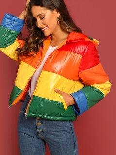 Zip Up Rainbow Puffer Coat