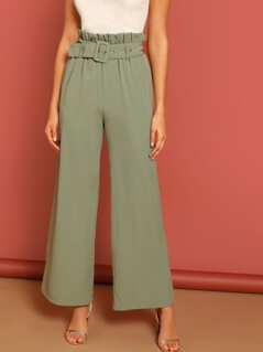 Paperbag Waist Wide Leg Belted Pants