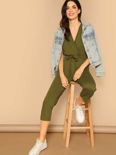 Surplice Neck Rolled Up Sleeve Jumpsuit