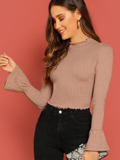 Lettuce Edge Flounce Sleeve Fitted Crop Tee