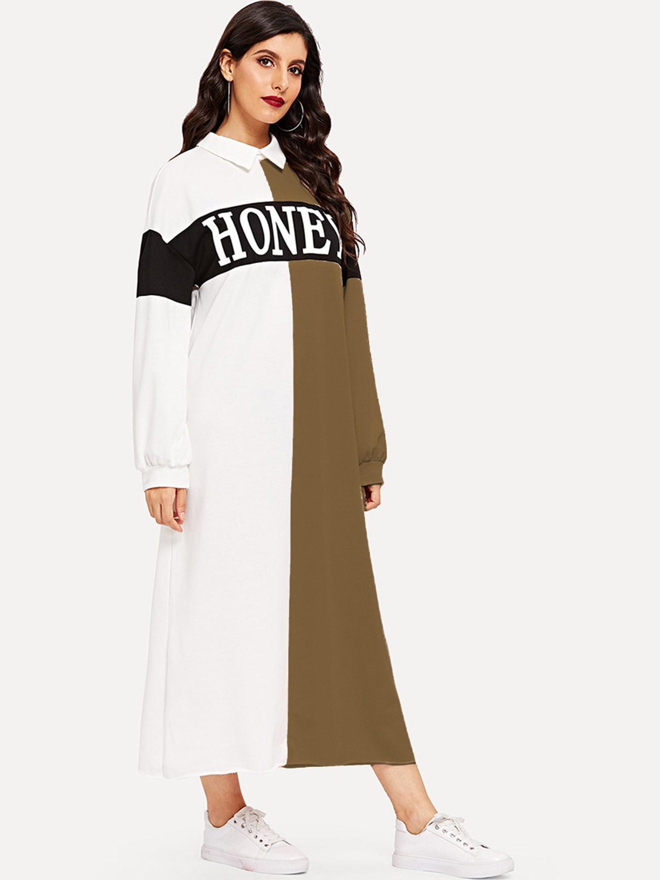 Купить Контрастное длинное платье с вырезом сзади и текстовым принтом, Jeane, SheIn