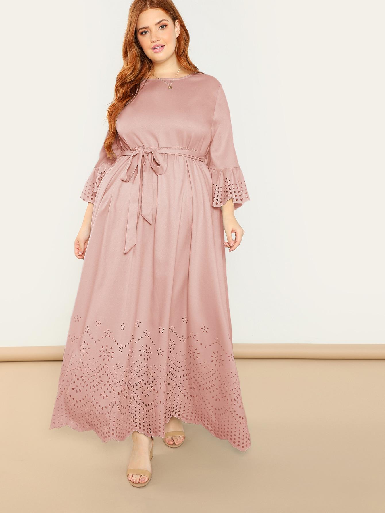 Plus Bell Sleeve Scallop Laser Cut Dress